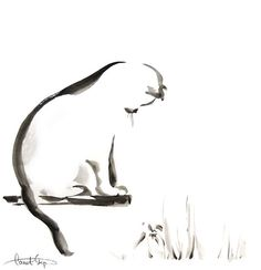 Kitten Black and White Minimalist Painting