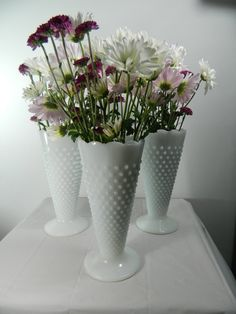 Vintage Milk Glass Vases Set of 3 Hobnail by @3sisterstreasures, $36.99