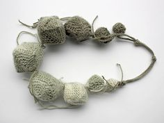 Knitted statement chunky necklace, ombre green - stuffed with felted wool - rRradionica