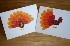 All you need is fingers and thumbs and inkpads plus misc stuff I already have.  Thumbprint Turkey.  Use the Thumb for the body and index finger for feathers.