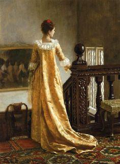 """Lui sa 'aime elle suit""   -Edmund Blair Leighton  Brilliant ""PRB"" artist."
