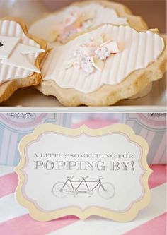Two in Love Bridal Shower Event   as seen in My Little Jedi Magazine   Styling and Paperie by Loralee Lewis    Photography by Belinda Madsen Photography    Cookies by Holly's Sweet Hobby    Cake and Cupcakes by the Apothecakery Cupcake Shoppe    Tandem Bicycle Cake Topper by Heather Boyd