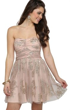 Deb Shops Strapless A-Line #Dress with #Floral #Glitter Mesh and Cross Bodice