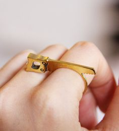 Tiny Saw Ring - golden metal brass