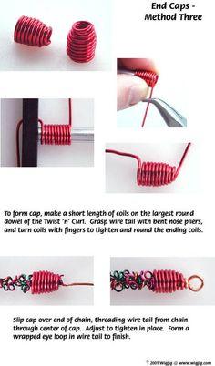 Cómo hacer tapas de los extremos utilizando alambre Joyería