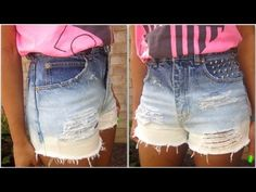 DIY: Ombre Distressed High-Waisted Denim Shorts