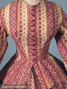 PRINTED WOOL CHALLIS DAY DRESS, 1860