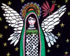 guadalup, art ceram, mexican folk art, ceram tile, art posters, virgin, angel art, angels, poster prints