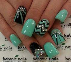Nails. pretty acrylic nails, mint green, color, nail designs, nail arts, nail ideas, acrylic nail art chevron, black, blue nails