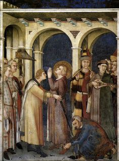Wow parti-colored outfits.  The Knighting of St. Martin, Simone Martini, fresco dated about 1320-1330