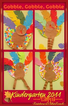 Turkey Bulletin Board with Painted Polka Dots (from Bulletin Board RoundUP via RainbowsWithinReach)