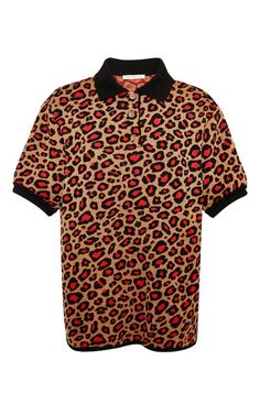 Leopard Knit Polo Shirt by Christopher Kane for Preorder on Moda Operandi