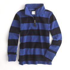 Factory boys' rugby-stripe sueded half-zip popover from Crewcuts.  Love these for the boys