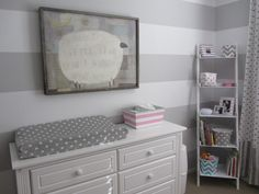 Gray and white striped nursery - perfect for a gender neutral nursery. Just add in pops of color once you know the gender! #nursery #baby