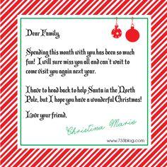 Elf on the Shelf Goodbye Letter - Free Printable