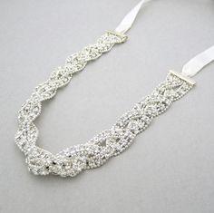 Woven rhinestone bridal headband, wrap, sash -$45.00