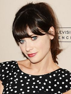 We love how Zooey Deschanel's Dark Brown Golden hair complements her fair skin. Find your #perfect custom #hair #color at home here: http://www.haircolorforwomen.com/breakthrough-hair-color-system-your-salon-doesnt-want-you-to-know-about-p/