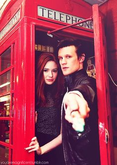"""Matt Smith as """"The Doctor,"""" Karen Gillan as Amy Pond. And I like the phone booth as well."""