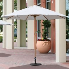 This 11' Premium Wood Market Umbrella features safe and effective Quad Pulley lift system. Available in 100% Solution dyed Sunbrella with 5 year fade warranty. Great deal for $469.00 sale price.  Product ID : GAL-183 #PatioUmbrella