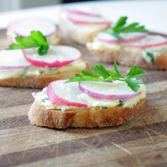 Radishes with Herbed Butter on Baguette