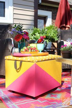 There's a cooler hiding inside this bright, DIY rolling ottoman--it's perfect for keeping cold drinks at hand when you're entertaining on your patio or working outside in your garden. Find out how to make it when you click through; it's designed by blogger Mandy @Fabric Paper Glue.