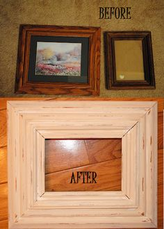 Glue 2 ugly picture frames together for a more chunky look. Paint and sand for a distressed look. Can add ribbon too.