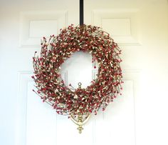 Red Cream berry wreath - Christmas Wreath  - Front Door Wreath for your Holiday front door - Pip berry wreath