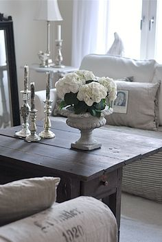 Living room Whitewashed Cottage chippy shabby chic french country rustic swedish decor idea.  *** Repinned from miss candy ***.