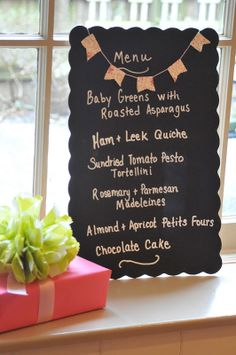 Baby shower menu.