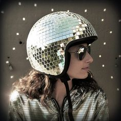Sparkly Retro Disco Ball Motorcycle Helmet Design