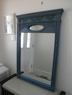 Annie Sloan paint took this dull black mirror to beautiful Aubusson Blue