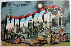 Greetings From Postcards Vintage | Greetings from Mississippi Large Letter Postcard