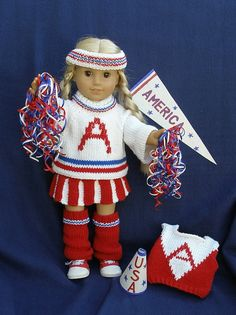 CHEER LEADER OUTFIT Downloadable Knitting pattern for any 18 inch Doll including American Girl.