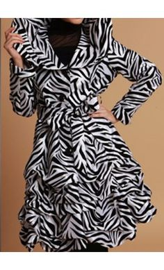 Women's zebra print long jacket with vintage collar and matching belt. - Apostolic Clothing