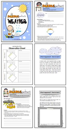 LINK to item:  http://www.teacherspayteachers.com/Product/Science-Experiments-Weather-240477 In this set of 8 fun, hands-on science experiments, your students will make many discoveries about weather, think critically about their observations, and record their learning on response sheets.  $