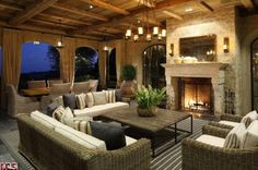 family room with a warm fireplace