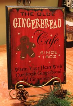 Gingerbread Cafe Sign/Handpainted/Red/Christmas Decor