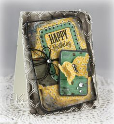 Birthday card created by Julee Tilman using Chevron Love from Verve.  #vervestamps
