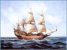 Sailing Ships Art Print, Paintings, Poster, Wallpaper