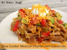 Slow Cooker Mexican Casserole- dump the ingredients in the crock pot for a easy and delicious meal! SixSistersStuff.com #crockpot #recipe