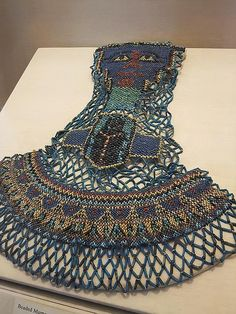 Ancient Egyptian Jewellery.  Beaded Mummy Decoration with Scarab Beetle Design Saite Period Dynasty 26 664-525 BCE Beads and Fiber