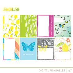 LemonLush - free Printable Journal Cards