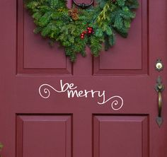 Be Merry Front Door Decal, mailbox Christmas Decor words with cute swirls Vinyl Decal Wall Word Sticker DIY Holiday Decoration sign letters on Etsy, $5.00