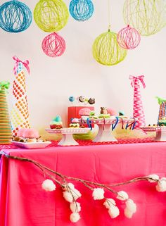 Vivacious Hanging Party Decor with Colorful Ideas: Bright Yarn Chandeliers DIY With Balloons Hanging Party Decor