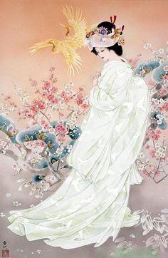 Japanese Woman in White | Tattoo Ideas & Inspiration - Japanese Art | Haruyo Morita | #Japanese #Art
