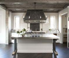 Rustic kitchen.  Brick ceiling, rustic wood | Linda McDougal Design