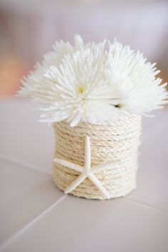 DIY flower vase - Progresso soup can wrapped in rope (Lowe's)