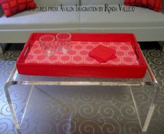 1:6th Scale Barbie, Blythe, etc. Serving tray in bright red with honeycomb hexagon - Hollywood Regency style miniature dollhouse decor