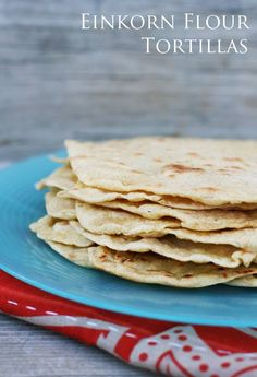 Homemade tortillas, made with #einkorn flour. Easy to make. Click through for recipe!