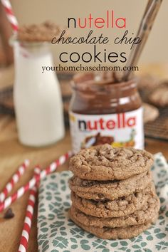Chocolate Chip Nutella Cookies @yourhomebasedmom.com  #cookies,#nutella,#recipes  Aaron's birthday!